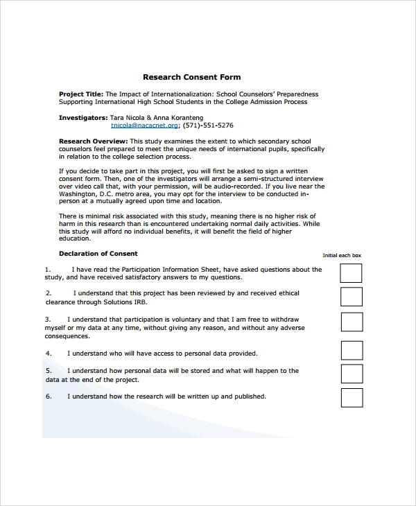 Sample Research Consent Form 8 Free Documents Download in PDF Word – Interview Consent Form