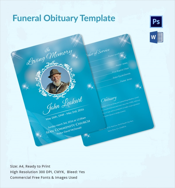 Sample Funeral Obituary Template 11 Documents in PDF PSD WORD – Funeral Obituary Template