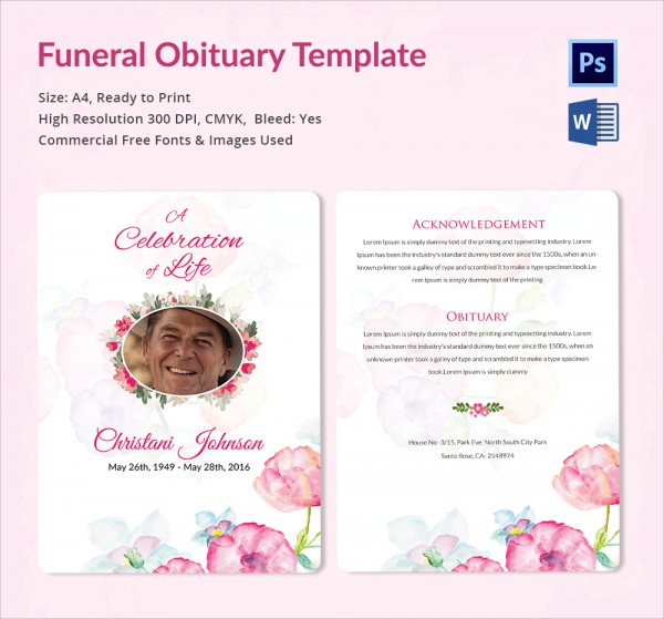 Sample Funeral Obituary Template   Documents In Pdf Psd Word