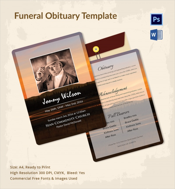 simple funeral obituary template