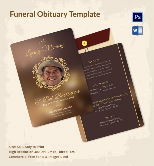 12 sample funeral obituary templates sample templates for Free downloadable funeral program templates