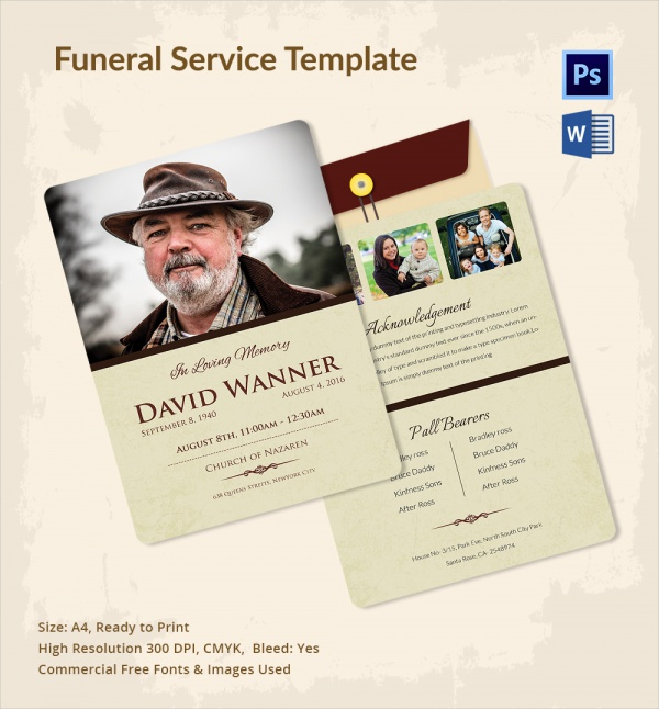 13+ Sample Funeral Service Templates | Sample Templates