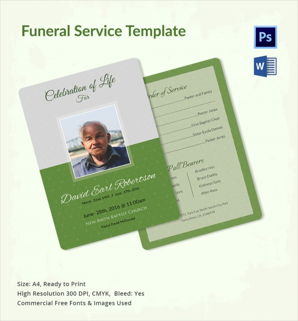printable funeral service template