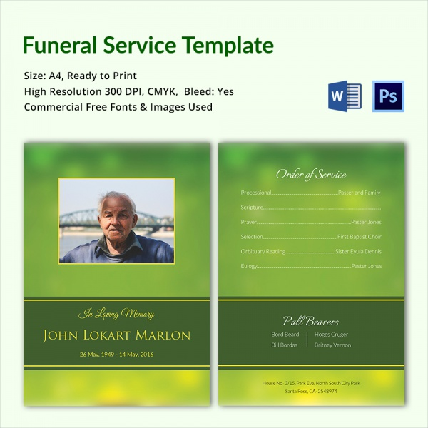 simple funeral service template