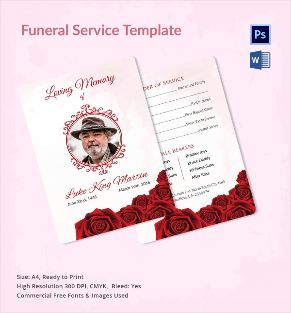 amazing funeral service template