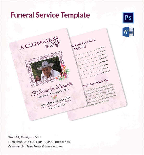 Sample Funeral Service   Documents In Pdf Psd Word