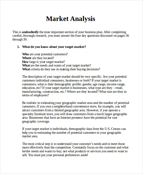 Sample Market Analysis   Documents In Pdf Word
