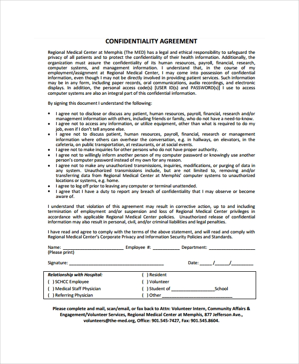 Sample Staff Confidentiality Agreement 7 Documents in PDF Word – Medical Confidentiality Agreement