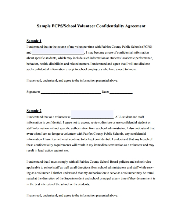 8 Sample Staff Confidentiality Agreements Sample Templates
