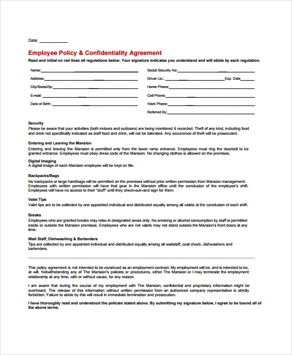 Sample Staff Confidentiality Agreement - 7+ Documents In Pdf, Word