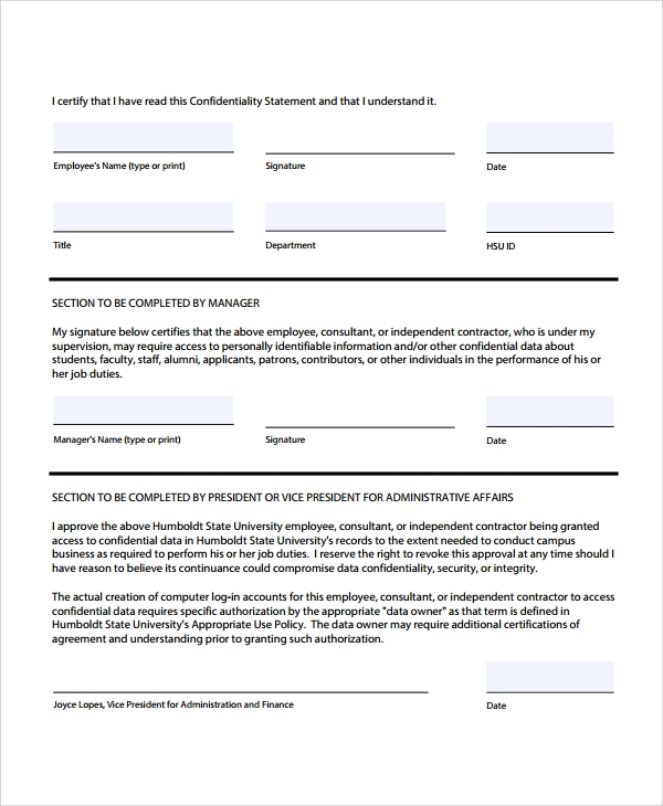 Sample Staff Confidentiality Agreement   Documents In Pdf Word