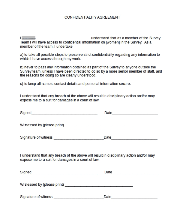 Staff Professional Confidentiality Agreement