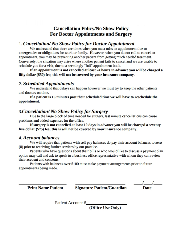 appointment cancellation policy template
