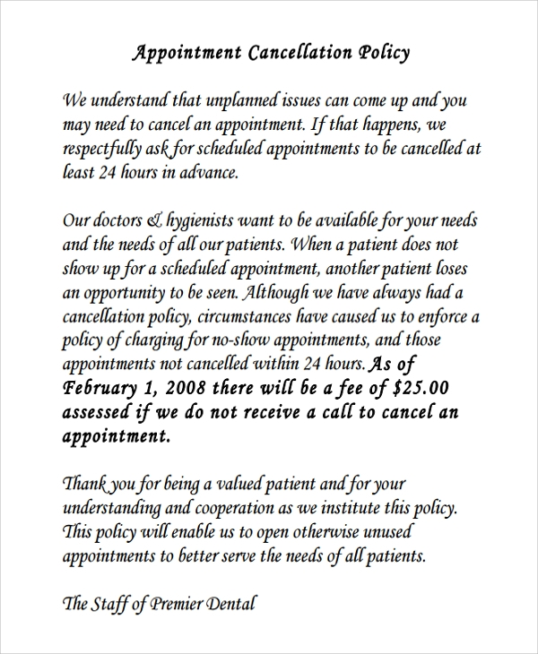 dental appointment cancellation policy template