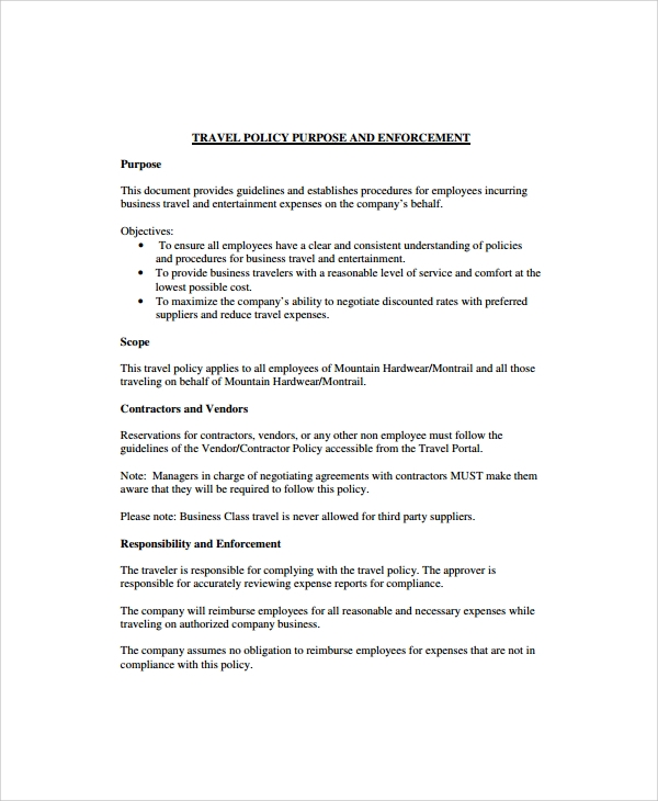 9 travel policy templates sample templates for Employee guidelines template