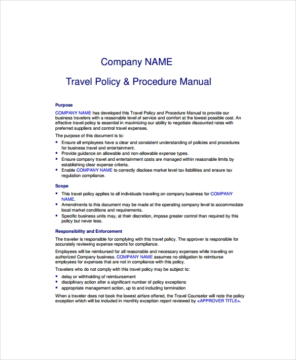 company travel policy template 9 travel policy templates sample templates
