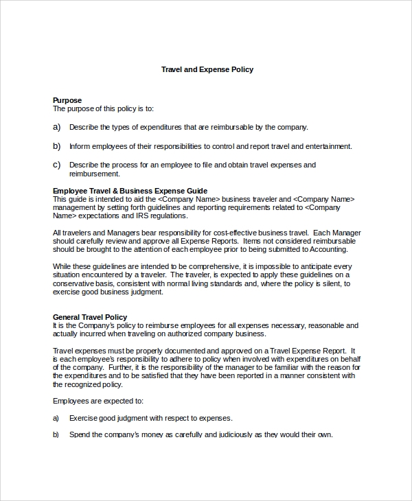 Sample Travel Policy Template   Free Documents Download In Word