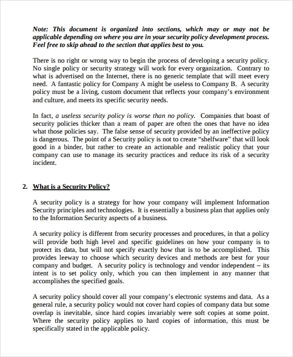 Company Policies And Procedures Template Sample IT Security Policy Template 9 Free Documents Download In Word PDF