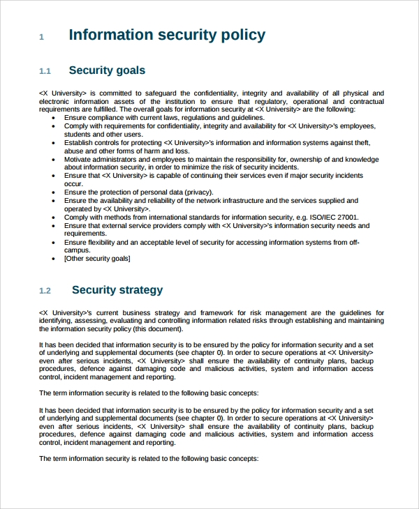 10 it security policy templates sample templates for It policies templates