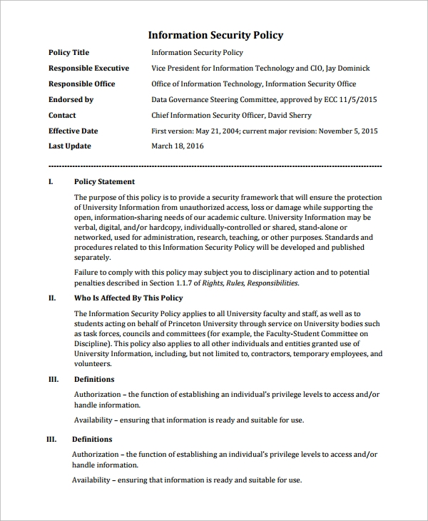 Sample It Security Policy Template - 9+ Free Documents Download In