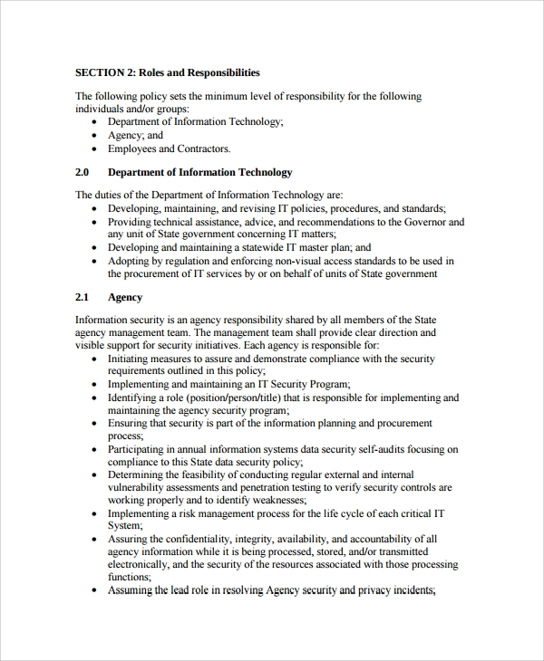 10 it security policy templates sample templates for Information technology policies and procedures templates