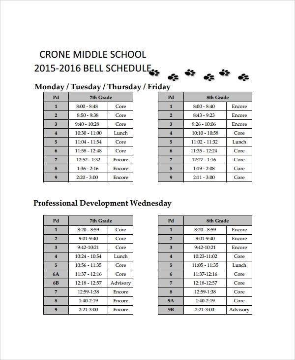 Sample School Schedule Templates   Free Documents Download In Pdf