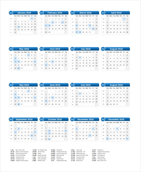 Sample Calendar Template - 24+ Free Documents Download In Word