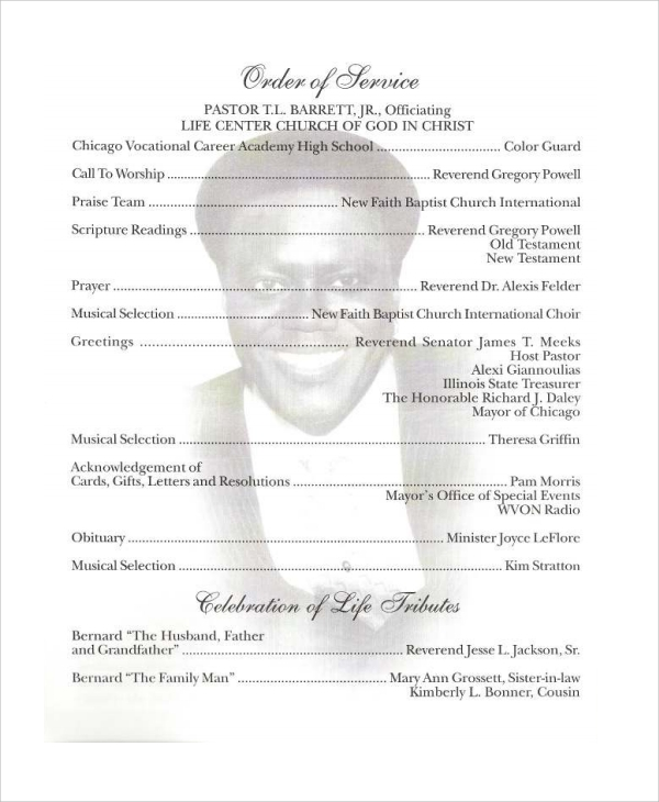 8 obituary program templates sample templates for Template for writing an obituary