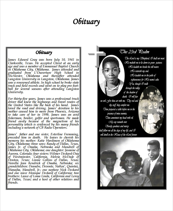 Sample Obituary Program Templates -7+ Free Documents Download In
