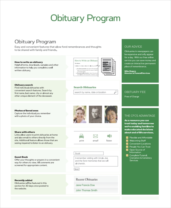 sample obituary program templates