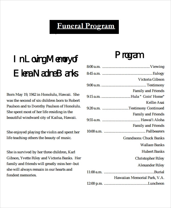 Sample Obituary Program Templates 7 Free Documents Download in – Obituary Program Template
