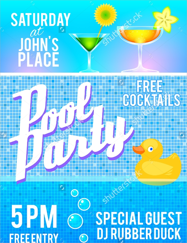 pool party flyer template vector