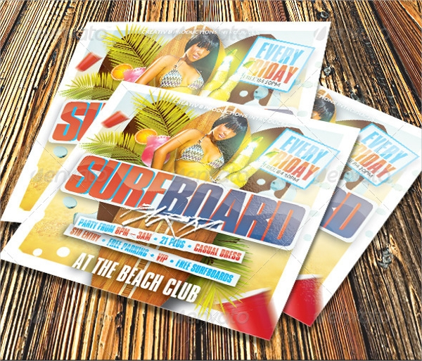 surfboard pool party flyer template