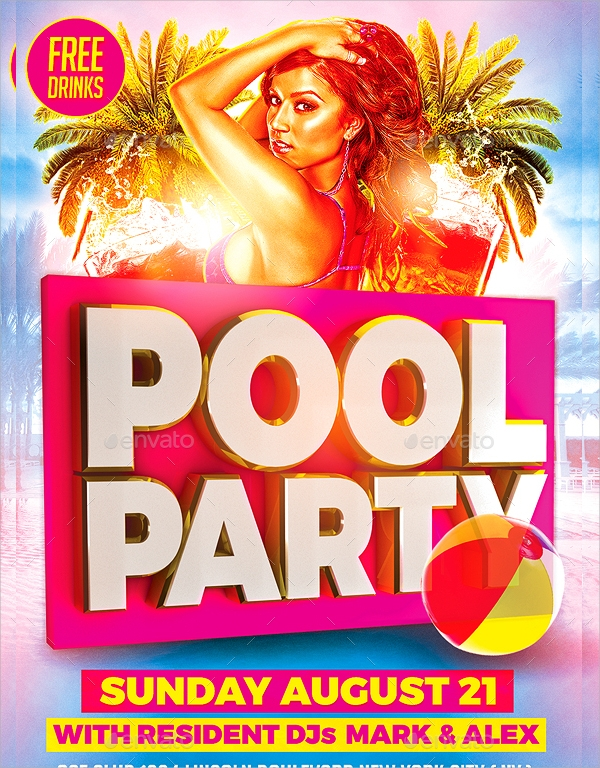 photoshop psd pool party flyer