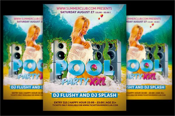 wonderful pool party flyer