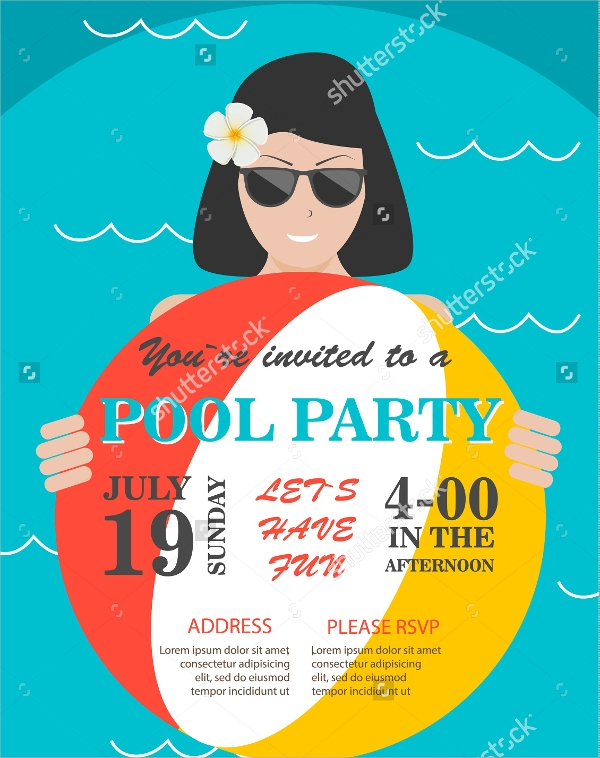 pool party invition flyer template