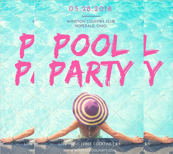 Charming Pool Party Flyer Template Free