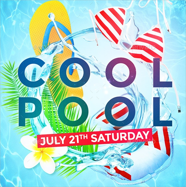 colorful pool party flyer