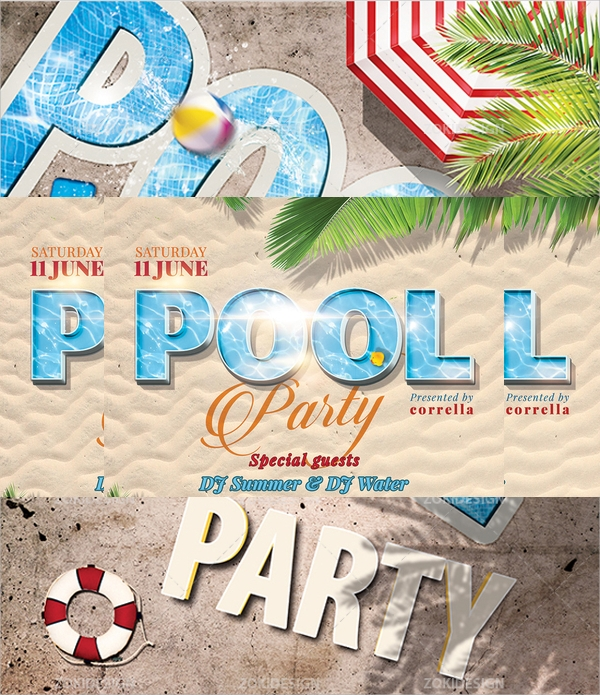colorful pool party flyer design