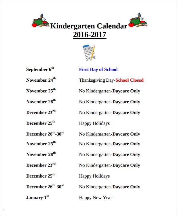 kindergarten calendar templates