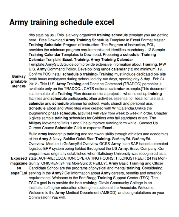 army training schedule template