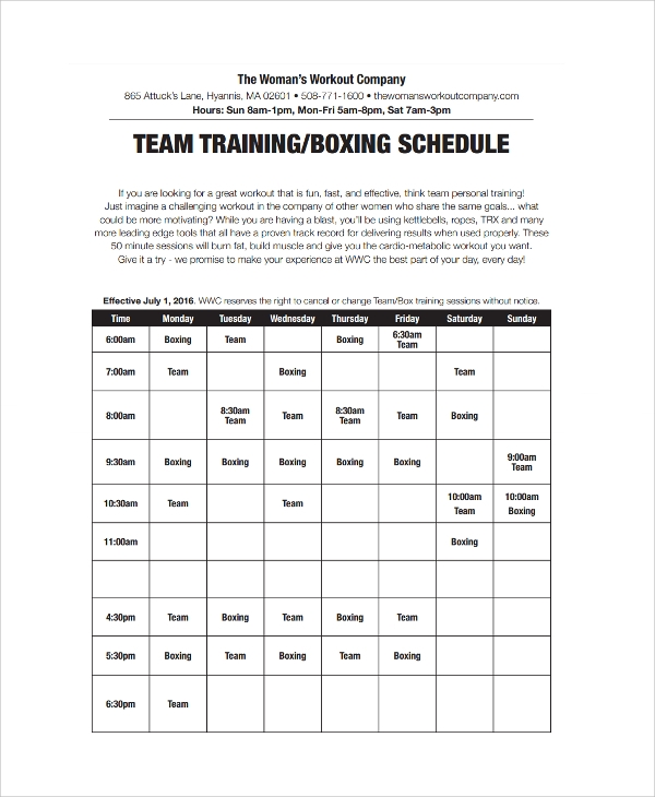 team training boxing schedule