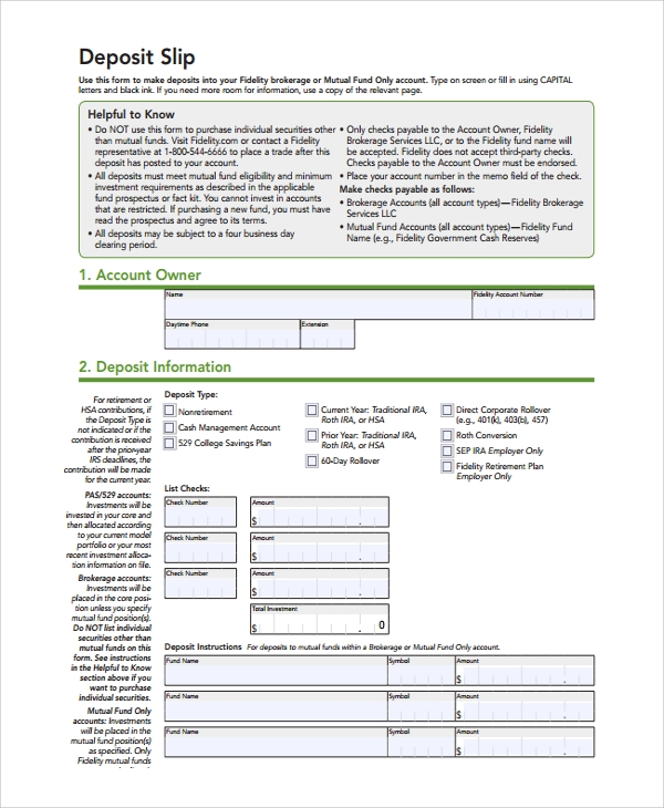 Sample Deposit Slip Template 8 Free Documents Download in PDF – Free Deposit Slip Template Word