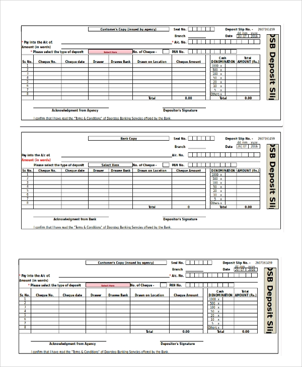 Sample Deposit Slip Template   Free Documents Download In Pdf