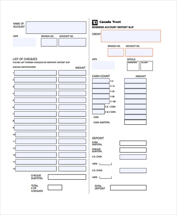 business account deposit slip template