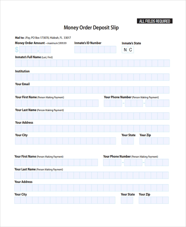 money order deposit slip