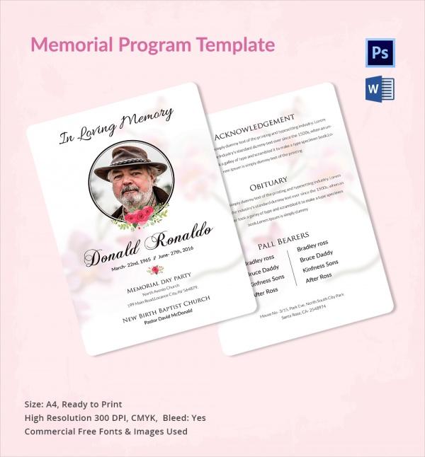 Sample Memorial Program Template Free Sample Example Format - Memorial brochure template