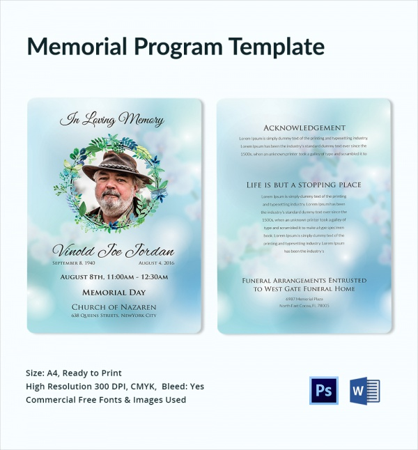 Sample Memorial Program Template  Free Sample Example Format