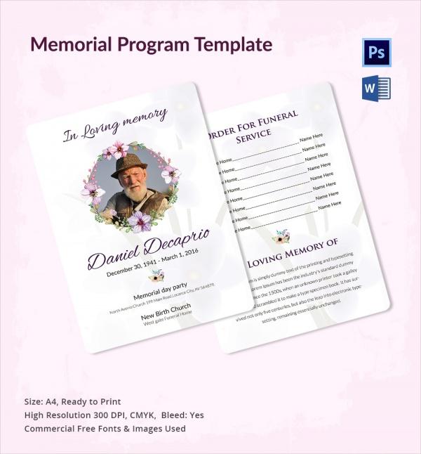 16 Sample Memorial Program Templates Free Sample
