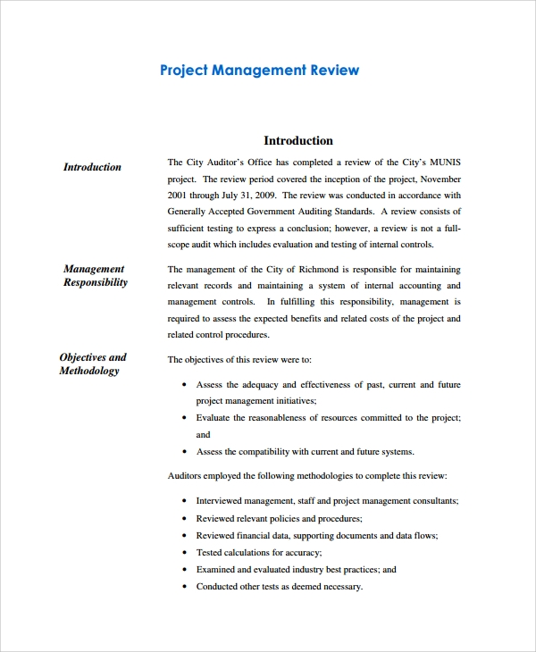 Sample Management Review Templates -6+ Free Documents Download In